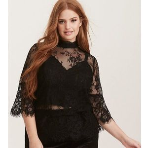 LACE MOCK NECK BELL SLEEVE BLOUSE